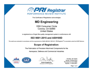 AS9100 certification for MD Engineering